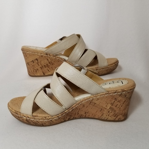f411a30004 Born Shoes | Boc Off White Slide Wedge Sandals Size 8m | Poshmark